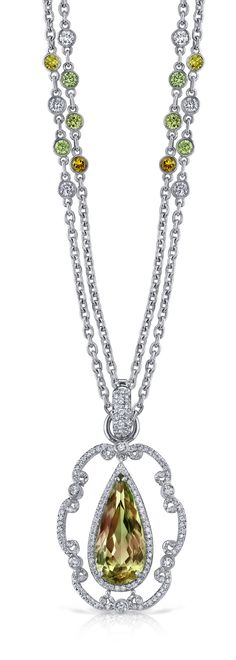 Platinum and Diamond Csarite™ Raindrop Necklace by Erica Courtney®