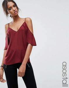 Buy it now. ASOS TALL Cold Shoulder Cami Top With Flutter Sleeve - Red. Tall top by ASOS TALL, Lightweight woven fabric, V-neckline, Cold-shoulder design, Slim straps, Loose fit - falls loosely over the body, Machine wash, 100% Polyester, Our model wears a UK 8/EU 36/US 4. ABOUT ASOS TALL Find fresh wardrobe wins with our ASOS TALL edit. Raise your sunrise-till-sunset game with occasion dresses, cool separates and jeans that go up to a 38� leg length and are perfectly proportioned to fit…