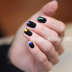 black with a color accent mani