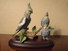 Tiel Talk Cockatiel Figurine Set By Bob Guge - Danbury Mint