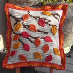 Autumn Leaves Pillow Cover PDF Crochet by TwoNeedlesOnehook, $5.00