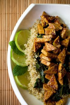 Sweet Chili Lime Tofu with Wok Steamed Collards and Quinoa by teenytinyturkey