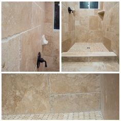 Up close and personal with the Denizli Beige Antique Pattern Travertine Tile! #bathroom #homediy