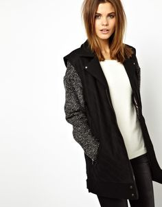 Image 1 ofY.A.S Maya Coat with Contrast Sleeves
