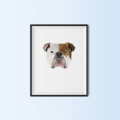 English Bulldog Portrait  English Bulldog Art Print  English