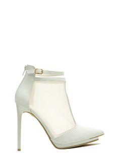 Mesh T-Strap Faux Leather Heels ROYAL WHITE BLACK NUDE - GoJane.com
