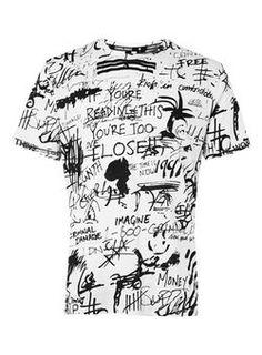 Criminal Damage Black and White Scribble Print T-Shirt*