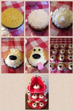 """This """"pupcake"""" was so easy to make and came out totally adorable!! Wilton Tip #21 for the star piping. Then a larger star tip (I forget which # I used) to make the large swirl for the muzzle. Caramel squares rolled out with a rolling pin and cut to the shape of ears, black jelly bean for the nose, pink fondant for the tongue (although a starburst or bubble gum would work, too!), and black icing with tip #5 for the eyes!!"""