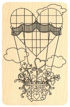 """{Single Count} Unique & Custom (3"""" by 4 1/2"""" Inches) """"Valentines XOXO Heart Balloon"""" Rectangle Shaped Genuine Wood Mounted Rubber Inking Stamp"""