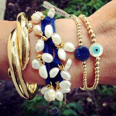 Set By Vila Veloni Beautiful Dark Blue Stone Bracelets