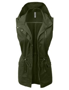 LE3NO Womens Lightweight Sleeveless Anorak Military Vest with Hoodie