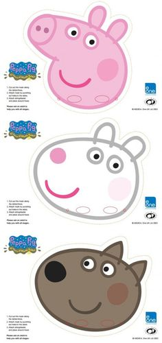 Peppa Pig Party Masks (make? Use popsickle sticks on bottom for them to hold in front of their faces) Cumple George Pig, Peppa E George, George Pig Party, George Pig Cake, Party Printables, Peppa Pig Printables, Free Printable Party, Free Printables, Fiestas Peppa Pig