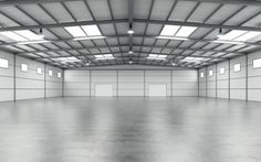 Interior of an empty modern warehouse. Steel Structure Buildings, Metal Buildings, Conception D'entrepôts, Design Garage, Dance Rooms, Steel Trusses, Agricultural Buildings, Warehouse Design, Plans Architecture