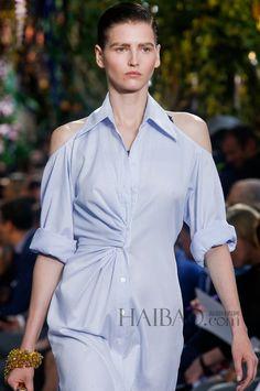 Горячих женщин летнее платье с длинным рукавом синий полосатый принт с плеча сексуальное платье Большой размер оборота шеи нерегулярные рубашка купить на AliExpress