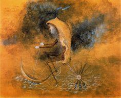 Su obra entera está teñida de una atmósfera de misticismo, pero plasmado en las figuras representativas del mundo secular moderno.