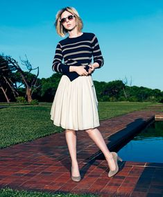 Scarlett Johansson, beige skirt, striped sweater