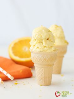 Orange Creamsicle Ice Cream. Whole fruit, creamy ice cream - and dairy free! Just like eating a creamsicle bar but with lots more nutrition!