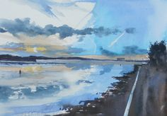 Clouds over Otterspool, reflections in the River Mersey at low tide with calm water. SOLD