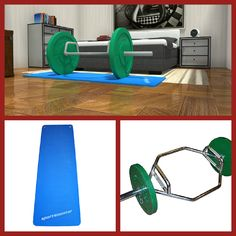 Fitness equipment in the bedroom? 3D floorplan featuring Olympic Hex Bar & Stretch Mat  image credit: RoomSketcher Design Team  http://planner.roomsketcher.com/?ctxt=rs_com  #fitness #equipment #bedroom #floorplan #olympic #stretch #mat #RoomSketcher #design