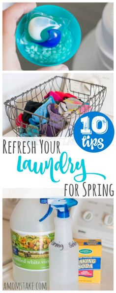 10 Tips to Refresh Your Laundry for Spring - these simple swaps and tricks can help make a huge difference in your laundry routine!  We're updating our laundry regimen for spring with products from Tide at Walmart!   Also check out our homemade washing machine cleaning solution for a clean washer and dryer!  #NewSchoolLaundry #ad