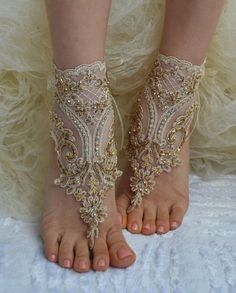 Champagne, french lace sandals, wedding anklet, Beach wedding barefoot sandals, embroidered sandals.