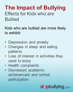 The impact of bullying can last a lifetime! Learn how to prevent its long-term effects on health and academics.   #bullying #education #bullyingeffects #bullyingimpact #mentalhealth