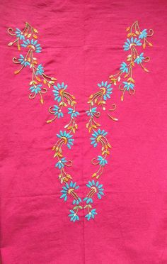 Embroidery On Kurtis, Kurti Embroidery Design, Embroidery Neck Designs, Hand Embroidery Flowers, Hand Work Embroidery, Embroidery On Clothes, Japanese Embroidery, Hand Embroidery Stitches, Embroidery Patterns