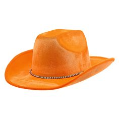 This cowboy hat is orange in color and is perfect for almost any celebration. The hat is made out of a soft, velvety material and is suitable for anyone over 14 years of age. It comes with a black and
