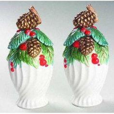 Fitz & Floyd Holiday Pine Salt & Pepper Shaker Set