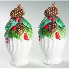 Fitz & Floyd Holiday Pine Salt & Pepper Shaker Set