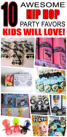 Hip Hop Party Favor Ideas Great hip hop party favors kids will love. Fun and cool hip hop birthday party favor ideas for children. Dance Party Kids, Dance Party Birthday, 2nd Birthday Party Themes, Party Favors For Kids Birthday, Birthday Party Outfits, Boy Birthday Parties, Birthday Wishes, Birthday Gifts, 90s Party