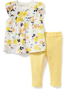 Cute floral spring or summer outfit for baby girl