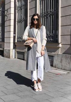Nina Schwichtenberg from www.fashiioncarpet.com wearing long vest, plateau shoes and blumarine denim  #fashiioncarpet #autumnwintertrends