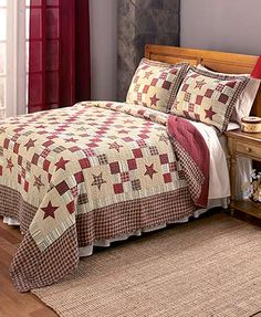 Nastalgia Patchwork Quilt Set F/Q K Red Stars Rustic Primitive Bedding King Quilt Bedding, Bedding Shop, Primitive Bedding, Primitive Decor, Cheap Quilts, Quilt Sets Queen, Quilted Bedspreads, Bath, Bed Spreads