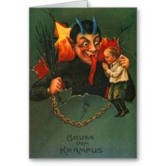 """Krampus Christmas cards for those of you that probably aren't on the Nice list! Krampus is the one who comes and gathers the bad children at Christmas time. He grabs them, puts them in his basket and takes them back to his """"evil lair"""" for his dinner. He doesn't stop at children, a naughty adult can be on his list too. Make your Holidays special with old fashion Christmas Cards. Vintage Seasons greetings. Vintage Christmas Cards from an era gone by, lovingly restored. Easy to personalize. ..."""