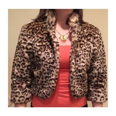 Forever21 crop faux fur coat. Size medium Forever21 crop faux fur coat. Size medium. Leopard print. Hot pink liner. Fun cute coat. Worn only a few times. Forever 21 Jackets & Coats