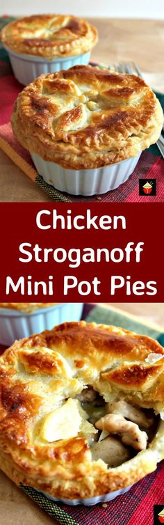 Mini Chicken Stroganoff Pot Pies with a to die for flaky buttery pie crust. Serve piping hot from the oven! So good!   http://Lovefoodies.com