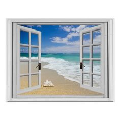 Shop Relaxing Beach Sea View Fake Window Poster created by fauxwindowscenes. Window Poster, Poster Wall, Faux Window, Nike Wallpaper, Beach Posters, Window View, Through The Window, Creative Decor, Beach Pictures