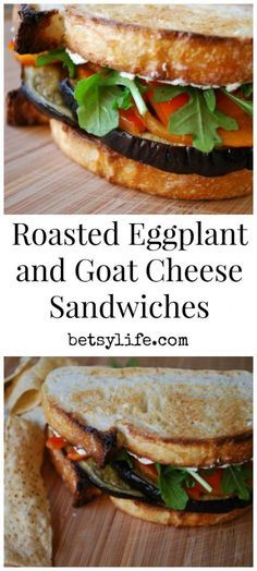 Eggplant and Goat Cheese Sandwiches with pesto and roasted red pepper. A healthy vegetarian friendly dinner recipe.