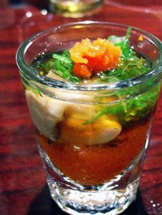 Who wants an Oyster Shooter? And in order to eat a combination of raw and fish I need to know that I can really trust the Shellfish Recipes, Seafood Recipes, Oyster Shooter, Fresco, Salmon Roe, Oyster Recipes, Mixed Drinks Alcohol, Snack Items, Fun Drinks