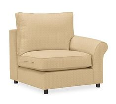 PBC Roll Arm Upholstered Right Arm Chair, Box Edge DB Cushions, Sunbrella(R) PRF Boss Tweed Bamboo
