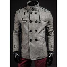 Jesenný pánsky kabát sivej farby - fashionday.eu