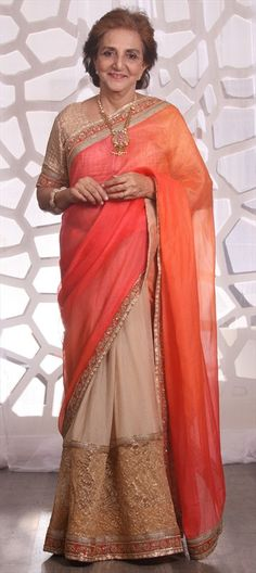 730433 Beige and Brown,Orange color family Party Wear Sarees,Silk Sarees in Art Silk fabric with Border,Thread,Zari work with matching unstitched blouse. Thread Work, Party Wear Sarees, Silk Fabric, Silk Sarees, Orange Color, Pattern Design, Sari, Beige, Bridal
