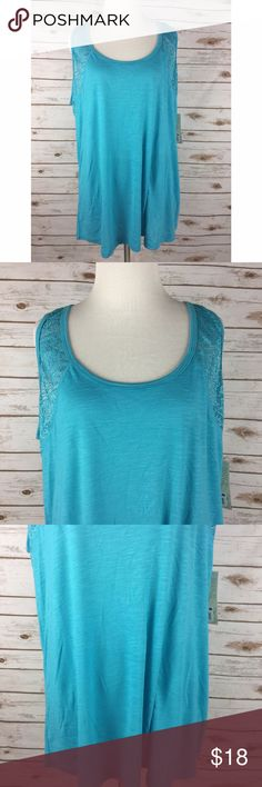 Balance Collection 1X Tank Top Blue Bora Bora NWT Balance Collection Bora Bora Tank Top - Teal Blue Women's Size 1X  New with tags  65% Polyester / 35% Rayon Contrast - 95% Polyester / 5% Spandex  Teal blue tank top Shoulders and upper back are a mesh crochet lace - semi-sheer  Measurements (in inches): Chest (armpit to armpit) - 24 Strap width - 1.75 Length (back of neck to bottom hem) - 29 Balance Collection Tops Tank Tops