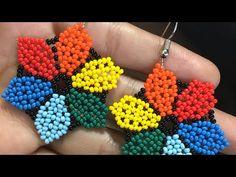 Beaded Earrings Patterns, Bead Earrings, Beading Patterns, Crochet Earrings, Stylish Rings, Earring Tutorial, Bead Jewellery, Loom Beading, Beaded Flowers