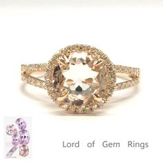Reserved for usjenn-gdmlcs Round Morganite Engagement Ring Pave Diamond Wedding 14K Rose Gold Split Shank