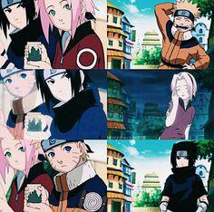 Team 7 When each one them failed to spot where and what Kakashi is doing. Naruto Uzumaki, Anime Naruto, Manga Anime, Sarada E Boruto, Naruto Funny, Naruto Girls, Otaku Anime, Sasunaru, Wallpapers Naruto
