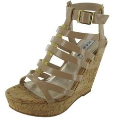 Steve  Madden  womens  indyanna  wedge  sandal blush  patent