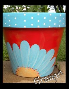 Painted Clay Pots by GranArt painted clay pots, container gardening, crafts, gardening, painting Flower Pot Art, Flower Pot Design, Clay Flower Pots, Flower Pot Crafts, Painted Plant Pots, Painted Flower Pots, Painted Pebbles, Paint Garden Pots, Glass Garden