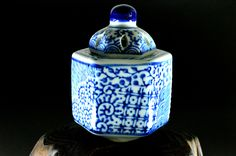 Antique Small Arita-ware Incense Burner with Sometsuke Design - For gift - Arabesque Pattern and Some Pattern by JapaVintage on Etsy